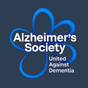 Alzheimers Society Logo in blue & black Welwyn Garden City