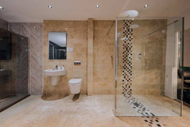 luxury shower wet room with Aztec tiling